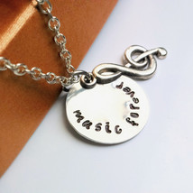 music forever Necklace Treble Clef Necklace Hand Stamped Disc pendant Mu... - $15.00