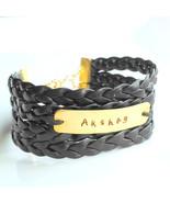 Men's bracelet with hand stamped Brass Tag Vegan Jewelry Valentine Gift ... - $9.00
