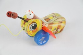 Vintage Collectible Fisher Price 444 Queen Buzzy Bee Wood Pull Toy [Kitc... - $19.99