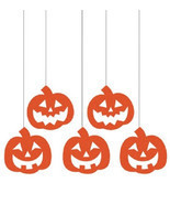 Pumpkins Hanging Glitter Cutouts 5 ct Party Dizzy Danglers - £3.16 GBP