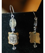 Artisan  Earrings - Silver Flower design on Brass plus Stone - $20.00