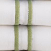 Sferra Grande Hotel King Sheet Set w/ King Cases. White with Green Embro... - $330.00