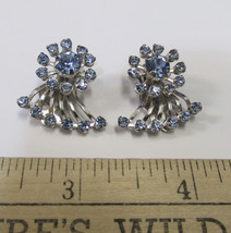 Vintage Blue Rhinestone Clip On Earrings Silver Tone Fanned Out Fan Jewelry - $14.84