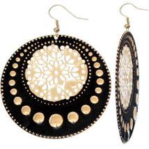 Black Centered Floral Filigree Dangle Earrings - $9.99