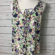 Gap Semi Sheer Blouse Tie Front Button Down Green Purple Floral Top Womens Sz M - $8.64