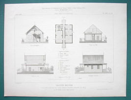 ARCHITECTURE 3 PRINTS 1869: Housing for Workers Prototypes Single Family... - $13.46