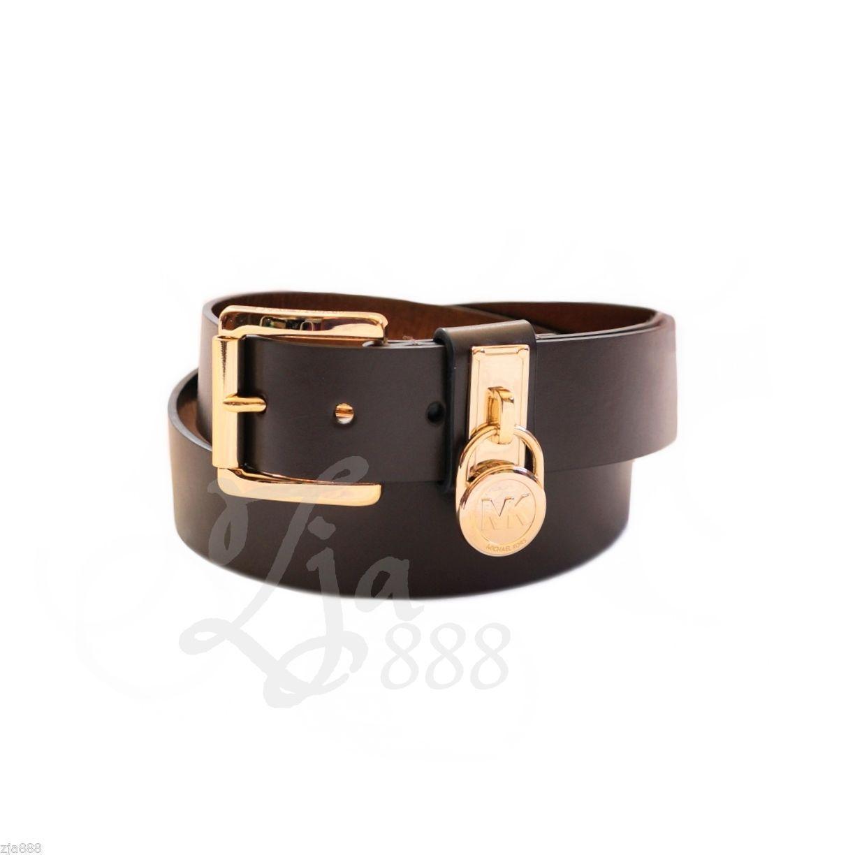 de7ec08c25023 S l1600. S l1600. Previous. MICHAEL KORS Hamilton Gold Signature Logo Lock  Chocolate Brown Faux Leather Belt