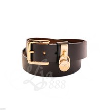 MICHAEL KORS Hamilton Gold Signature Logo Lock Chocolate Brown Faux Leat... - $38.40