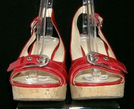 Franco Sarto 'Carnival' red peep toe buckle slingback cork platform wedges 9M image 5