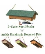 SUET BIRD FEEDER - 2 Cake Upside-Down Amish Handmade Recycled Poly - Tur... - $38.21
