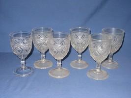 """6 Grand Diamond Medallion EAPG Vtg Wine Water Goblet Clear Glasses  5 3/4"""" - $19.79"""