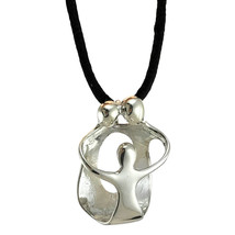 TAXCO 925 LARGE FATHER MOTHER CHILD PENDANT NECKLACE Mexican 925 Silver - $34.75