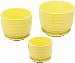 Nice Shabby Chic Style Set of 3 Yellow Ceramic Planter Flower Pots Decor... - £43.35 GBP