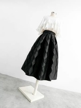 Lady Yellow Midi Party Skirt Spring Plus Size Full Pleated Skirt w. Wing Pattern image 13