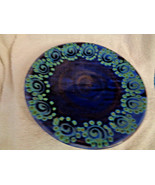 "Dinner Plate Earthworks Barbados Pottery Blue Squirl Pattern 10 1/2"" Han... - $23.75"