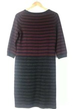 Talbots Blue Maroon Wool Blend 3/4 Inch Sleeve Shift Dress Size Petite M... - $38.21