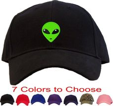 Green Alien Head Embroidered Baseball Cap - Available in 7 Colors - Hat - $24.95