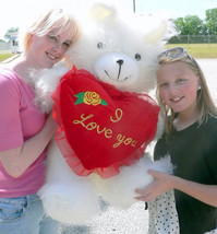 American Made Giant I Love You Teddy Bear 36 Inches Holding Heart Pillow - $76.21