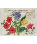 """LONG GLASS CUTTING BOARD,12""""x15"""", FLOWERS, rect.,by CA - $14.84"""