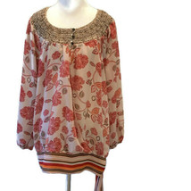Lane Bryant Tie Tunic ~ Mixed Print Floral Boho Smocked Top - Plus Size 18/20 - $23.35