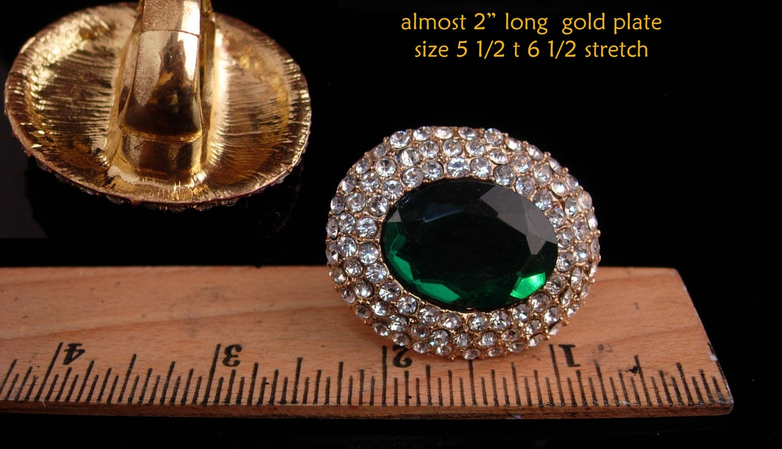 Huge statement ring - Green rhinestone - irish colors - Brilliant pave sparkle -