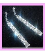 "2 1/2"" inch Chandelier Round White Rhinestone Silver Post Earrings - $44.99"