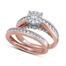 14K Rose Gold Finish 925 Silver Round Cut White CZ 2Pcs Wedding Ring Bri... - $79.97