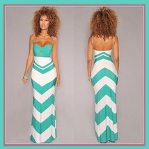 Lunarium Long Chevron Sun Dress with Spaghetti Straps and Empire Waist