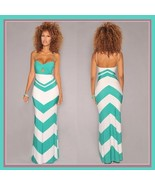 Lunarium Long Chevron Sun Dress with Spaghetti Straps and Empire Waist - $46.95