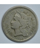 1865 3 cent circulated copper nickel F details - $25.00