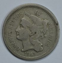 1865 3 cent circulated copper nickel VF details - $35.00