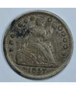 1857 Seated Liberty circulated silver half dime VF details - $34.00