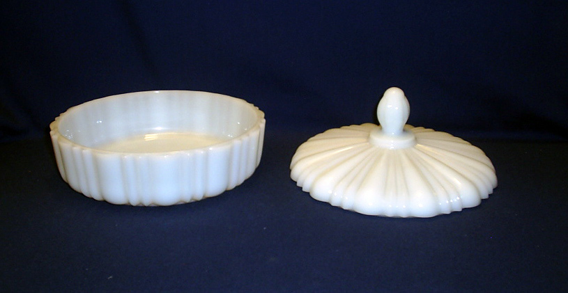 Milk Glass Ribbed Covered Candy or Dresser Dish