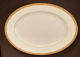 "Vintage Mikasa Pembroke Oval Serving 15"" Platter Bone China White Gold V... - $27.12"