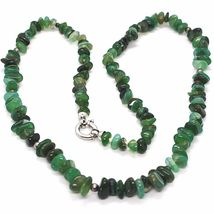 925 STERLING SILVER NECKLACE WITH AGATE GREEN STRIATA, 50 0,5 75 CM LENGTH image 4