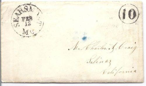 1854 Searsmont ME Vintage Postal Cover