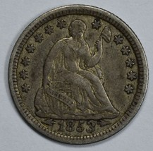 1853 Seated Liberty circulated silver half dime XF details with damage - $55.00