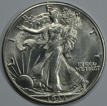 1944 D Walking Liberty silver half dollar BU details - $55.00