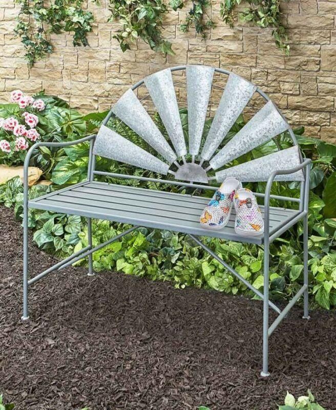 Metal Garden Windmill Bench Outdoor Loveseat Chair Yard Porch Patio Rustic Decor