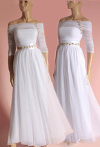 Plus Size Long draped tulle wedding dress / Off-Shoulder embroidered swa... - $180.99