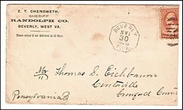 1886 Beverly WV Vintage /Pittsburgh PA DPO & Centreville PA DPO Postal C... - $9.95