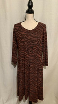 Cut Loose Vintage Dress Size Large Animal Print Button Back Red Black Mi... - $32.87