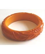 Vintage Carved Butterscotch Bakelite Bangle Bracelet - $325.00