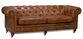 AWESOME TUFTED LEATHER CHESTERFIELD LARGE SOFA,89'' X 38' X 31.5''H. - $3,149.00