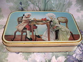 Vintage CLARNICO Candy Tin Souvenir ENGLISH CHILDREN Playing CHESS Colle... - $14.95