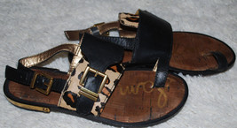 Sam Edelman Sandals Womens 6 M Black Gold Leopard Animal Print Leather Shoes 6M - $24.70