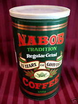 Vintage NABOB COFFEE Tin Canister 75 YEARS ANNIVERSARY Souvenir Collector - $19.95