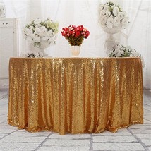 "Eternal Beauty Sequin Tablecloth, Sequin Table Linen 132"" Round, Light Gold - $73.71"