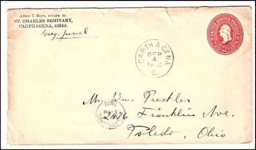 Primary image for 1902 Carthagena OH Discontinued/Defunct (DPO) Post Office Postal Cover