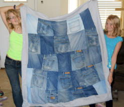 Blue Jean Quilt with Polar Fleece Back and Actual Jean Pockets! Size: 47... - $69.00